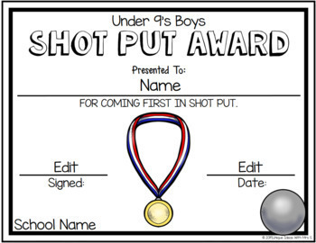 Shot Put Field Awards Athletics Editable