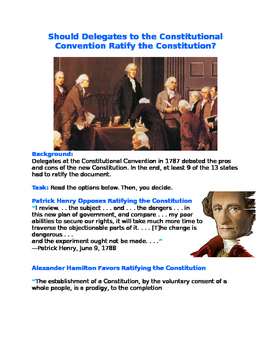 Should Delegates to the Constitutional Convention Ratify the Constitution?