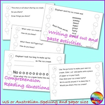 Should I Share My Ice Cream? Mo Willems Book Unit Task Cards & Would You Rather?