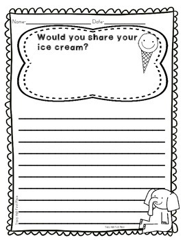 Should I Share My Ice Cream Story Activities- Opinion Writing and Graphing