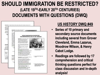 Should Immigration be Restricted? Documents with Questions - USH/APUSH