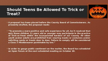 Should Teens Be Allowed To Trick or Treat? : Class Debate