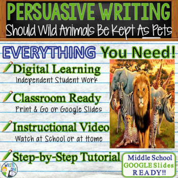 Should Wild Animals Be Kept as Pets?  Text Dependent Analysis Persuasive Writing