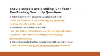 IR Should schools avoid selling junk food?