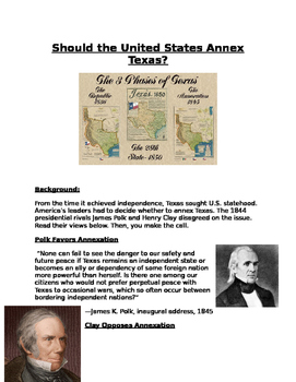 Should the United States Annex Texas? Clay and Polk Debate