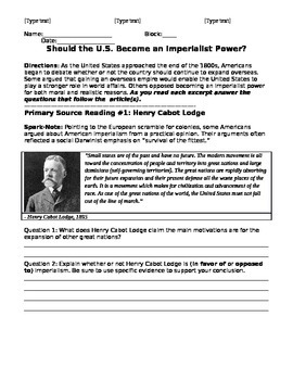 Should the United States Become An Imperialist Power