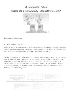 Should the United States Grant Amnesty to Illegal Immigrants? Worksheet/  DBQ