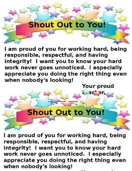 Shout Out Letter