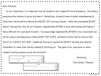 Shout Out Slips to discourage BLURTING in your classroom