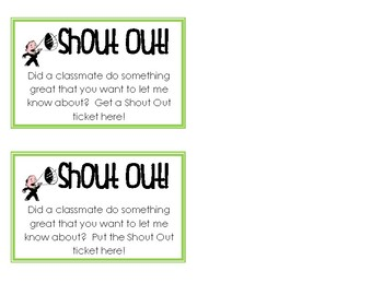 Shout Out Tickets (Classroom Culture Builder)