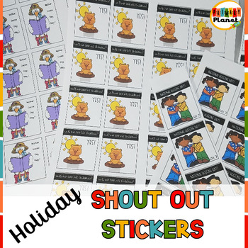 Classroom Rewards Shout Out Stickers Holidays