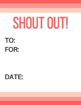 Shout Outs!