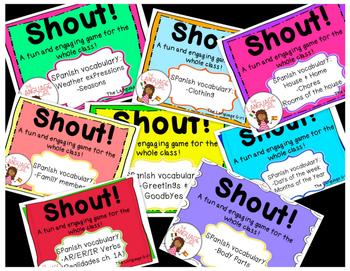 Shout! Spanish Vocabulary Game BUNDLE!