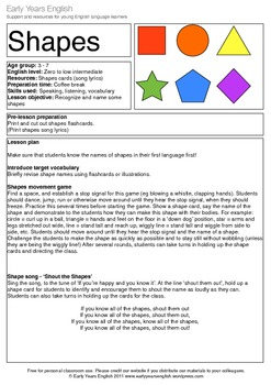 Shout the Shapes: song and games to teach shape vocabulary
