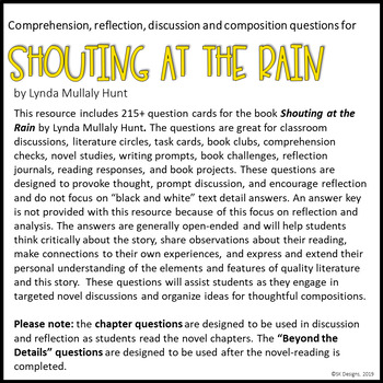 Shouting at the Rain Novel Comprehension Reflection Lit Devices Writing Prompts