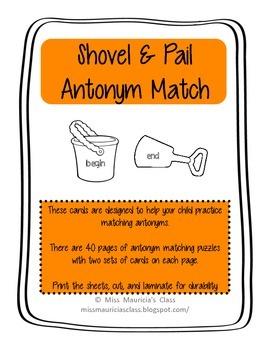 Shovel & Pail Antonym Match