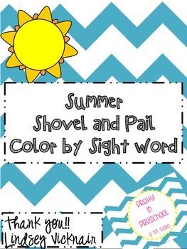 Shovel and Pail Color by Sight Word and Writing Practice