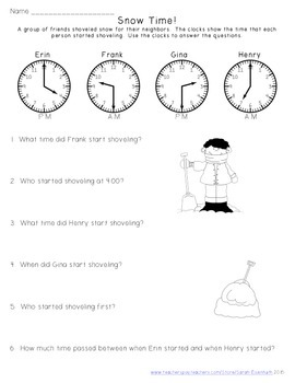 Snow Shoveling Math: First Grade Skills