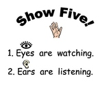 Show 5 behavior management chart for kindergarten or PreK.