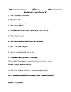 Show Business Worksheet