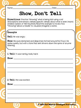 Show, Don't Tell: Descriptive Writing Practice Worksheet | TpT