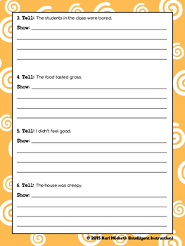 Show, Don't Tell: Descriptive Writing Practice Worksheet