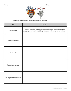 Show, Don't Tell Practice Sentence Writing for Narrative Writing