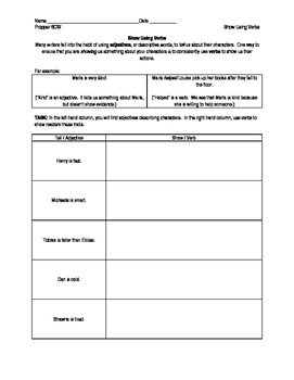 Show Don't Tell Using Verbs Worksheet