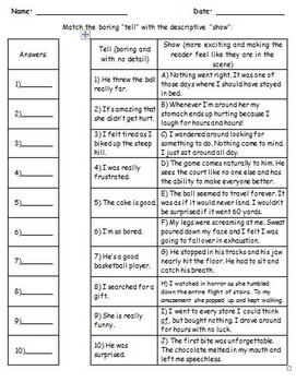 Show-Don't-Tell: 7 No Prep Worksheets in 1!