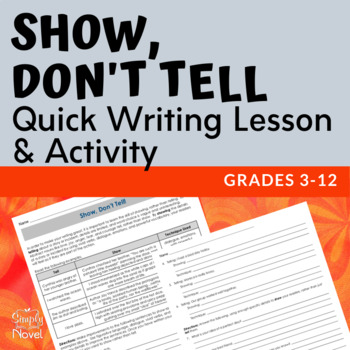 Show Dont Tell Free By Simply Novel Secondary Solutions Tpt