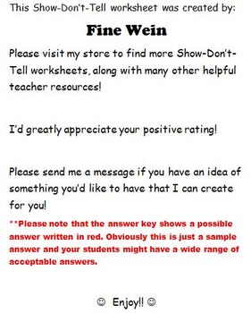 Show-Don't-Tell Cut and Paste No Prep Worksheet