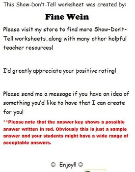 Show-Don't-Tell Making Your Writing Exciting No Prep Worksheet