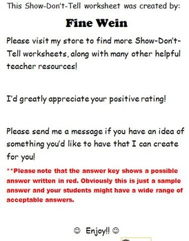 Show-Don't-Tell Matching No Prep Worksheet