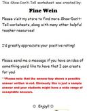 Show-Don't-Tell Short Response No Prep Worksheet