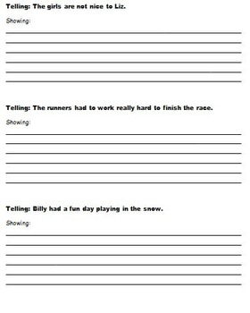 Show-Don't-Tell: Showing vs. Telling No Prep Worksheets