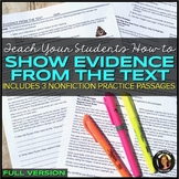 Show Evidence From the Text: Nonfiction Reading Practice