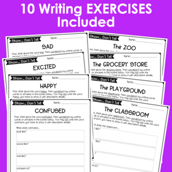 Show It Descriptive Writing Exercises Prompts Bundle  Tpt Show It Descriptive Writing Exercises Prompts Bundle My First Day Of High School Essay also Reflective Essay Thesis  Custom Creative Writing