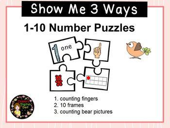 Show Me 3 Ways: Numbers 1-10 Puzzle Subitizing