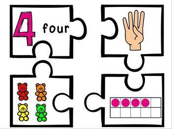 Show Me 3 Ways: Numbers 1-10 Puzzle Subitizing