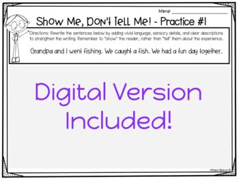 Show Me, Don't Tell Me! SET # 2 {Adding Sensory Details - W.3.3, W.4.3, W.5.3}