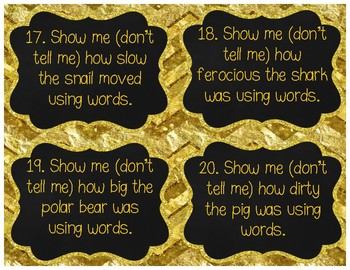 Show Me, Don't Tell Me! Task Cards {Adding Sensory Details W.3.3, W.4.3, W.5.3}