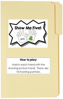 Show Me Five File Folder Game {Rhyming}