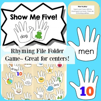 Show Me Five File Folder Game {Rhyming}