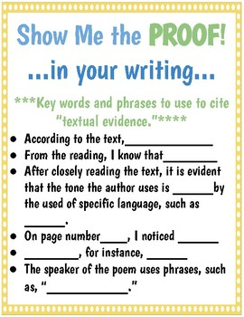 Show Me Proof Writing Poster
