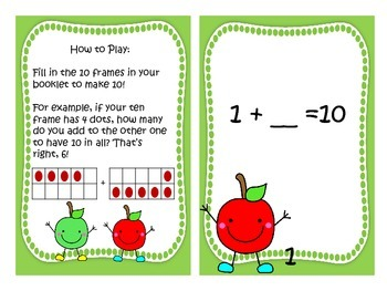 Show Me Ten Fluency Center with My Tens Friends (apple theme)