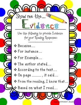 Show Me The Evidence Reading Response Poster Primary Colors