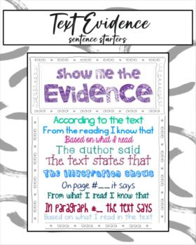 Show Me The Evidence - Sentence Starters