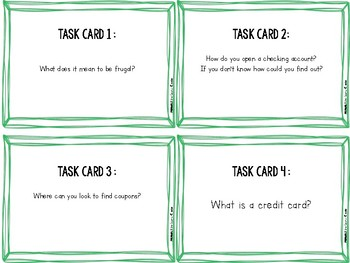 Show Me The MONEY! Financial Literacy Task Cards