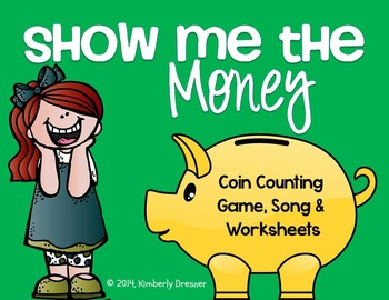 Show Me The Money! Coin Counting Packet for Kindergarten & 1st Grade. Color/B&W