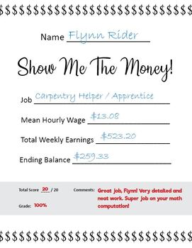 Show Me The Money! (Rational Numbers and Financial Literacy Project)